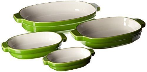 KitchenAid KBLR04NSYL Nesting Ceramic 4-Piece Bakeware Set - Key Lime