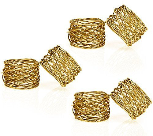 Handmade Round Mesh Napkin Rings Holder for Dinning Table Parties Everyday, Set of 6