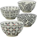 Signature Housewares Print 1 Bowls, 6-Inch, Black, Set of 4