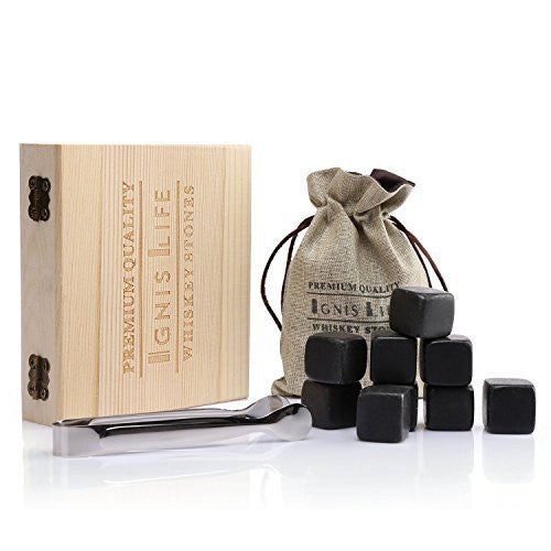 IgnisLife Premium Whiskey Stone Cooling Rocks Gift Set(Set of 9)-With Clip and Gift Bag
