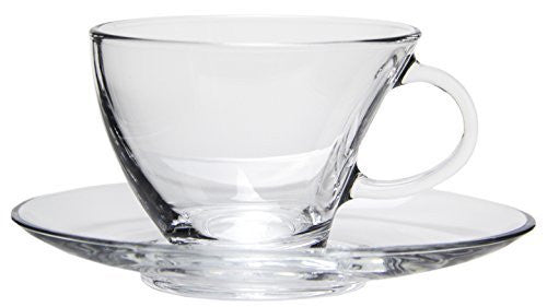 Modern Kitchen Clear Glass Tea Cups with Matching Saucers, Set of 6