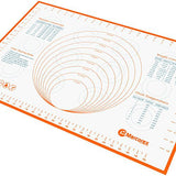 Large Silicone Pastry Mat with Measurements and Conversion Charts, Non-Stick Non-Slip, Fondant Mat for Rolling Dough