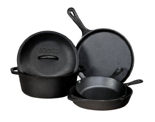 Lodge L5HS3 5-Piece Pre-Seasoned Cast-Iron Cookware Set