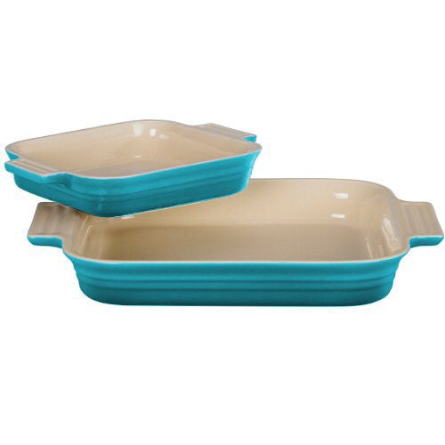 Le Creuset Stoneware 1-1/4-Quart Rectangular Baker with Bonus 16-Ounce Rectangular Baker, Caribbean