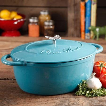 Pioneer Woman Timeless Beauty 7-quart Dutch Oven with Bakelite Knob and Stainless Steel Butterfly Knob (Turquoise)
