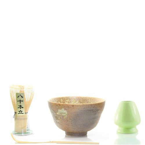 Matcha Tea Ceremony Gift Set with Chasen Whisk & Scoop (4, Golden)