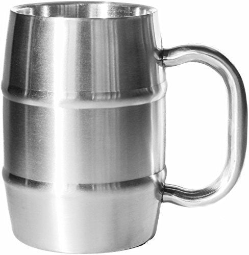 Insulated Beer Mug - Keeps Beer Ice Cold! Perfect Gift for Beer Lovers - Double Wall Stainless Steel 17oz (1, Stainless Steel)
