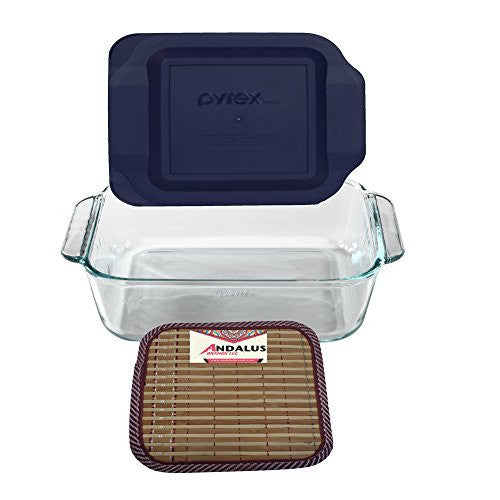 Pyrex 8 Square Baking Dish with Blue Plastic Lid, Brownies Pan - Includes Bamboo Hot Pad by Andalus