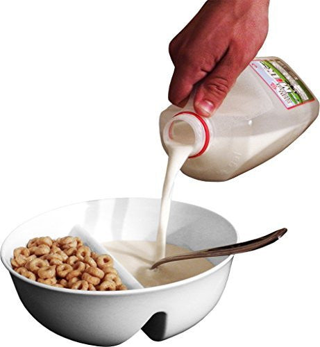 NEW Just Crunch Anti-Soggy Bowl! For Cereal/Milk, Veggies/Dip, Fries/Ketchup and More! - White
