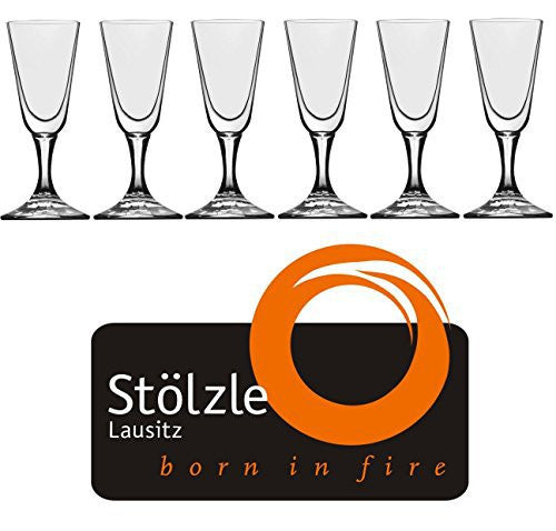 "Stölzle Lausitz Crystal Cordial Liquor Shot Glasses, 1 Ounce, 4"" Tall, Set of 6"