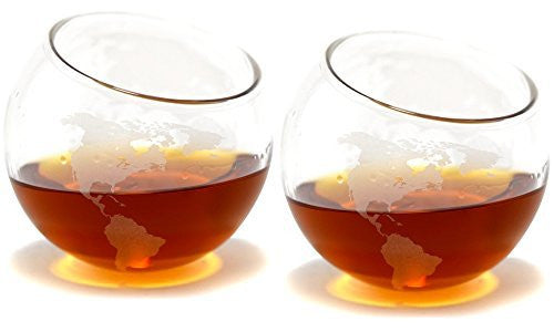 Etched Spinning/Rocking Globe Whiskey Glass - 8oz for Scotch, Rum, Bourbon, Tequila Rocks Glasses (Set of Two)