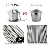 OUNONA Tea Strainer Loose Tea Infuser 304 Stainless Steel Tea Steeper (Set of 2) with Tea Scoop and Drip Trays