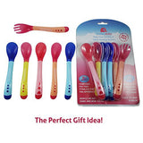 KiddieBobs Best Baby Spoons Set - Soft Tip Heat-Sensing FDA Approved BPA Free Teether - 6-Pack Multi-color Perfect Baby Shower Gift - BONUS Weaning Fork