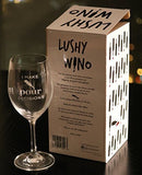 I Make Pour Decisions. - 16-Ounce Etched Funny Wine Glass by Lushy Wino