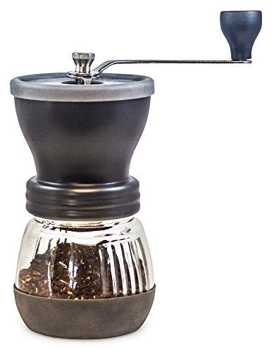 Khaw-Fee HG1B Hand Coffee Grinder with Ceramic Burr, Glass Jar and Storage Lid in Black