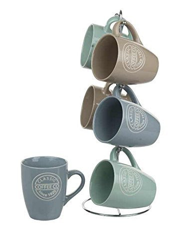 Home Basics Mug Set with Stand Coffee, 6 Piece