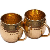 NLstellar - Moscow Mule Mugs - Gift Box Set of 2 Solid 100% Pure Copper Hammered Barrel 16 Oz Сups - Perfect for Christmas, New Year, Anniversary, Birthday and any Occasion.