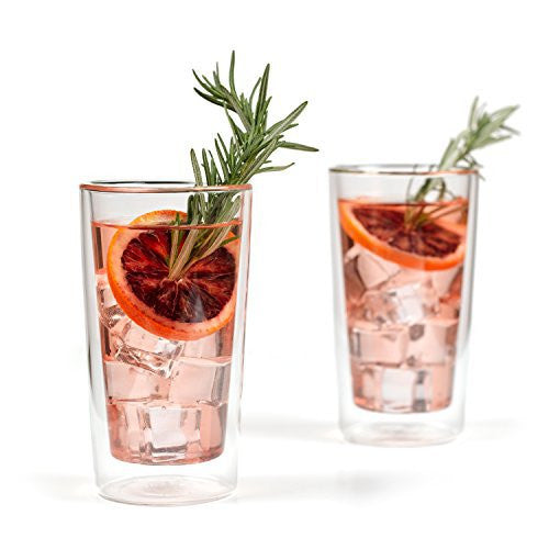 Eparé 12 oz Strong Double Wall Insulated Borosilicate Thermo Highball Glass for Drinks (Set of 2)