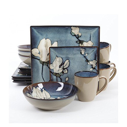 Gibson Bloomsbury 16 Piece Dinnerware Set, Blue