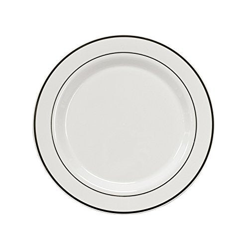 "Party Essentials 12-Count Hard Plastic 7.5"" Divine Dinnerware Disposable China Salad/Dessert Plates, White with Silver Band"