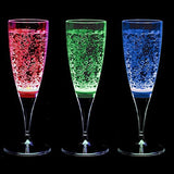 MIXBERRY Set of 3 Celebration LED Light Up Liquid Activated Multi-color Champagne Glasses, 150 ml (5oz)