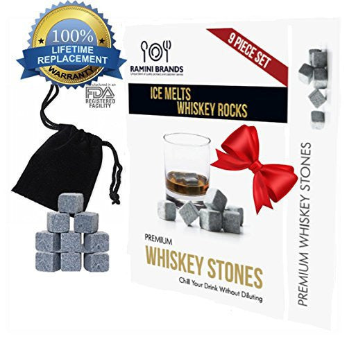 New Year's Sale: Whiskey Cooling Stones For a Drink Without Watering Down or Diluting - Bonus Whiskey Recipes and Velvet Carry Bag - 9 pc Boxed Gift Set (9 Piece Set)