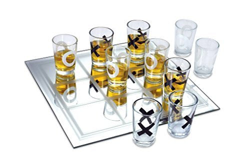 KOVOT Shot Glass Tic Tac Toe Game - 10 FULL-SIZED Shot Glasses Included