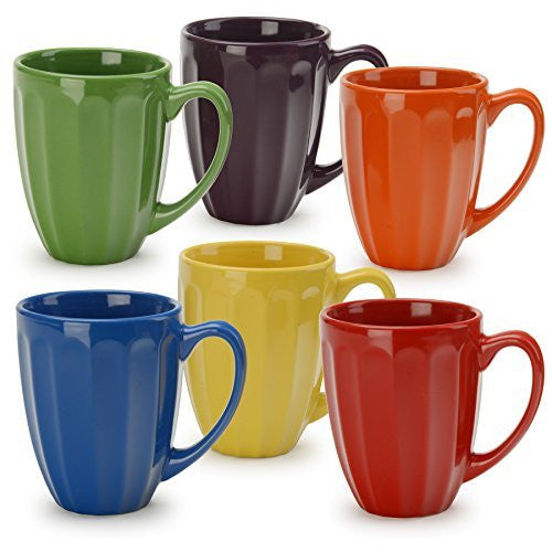 Signature Housewares Fluted Mugs, Assorted (Set of 6), Multicolor