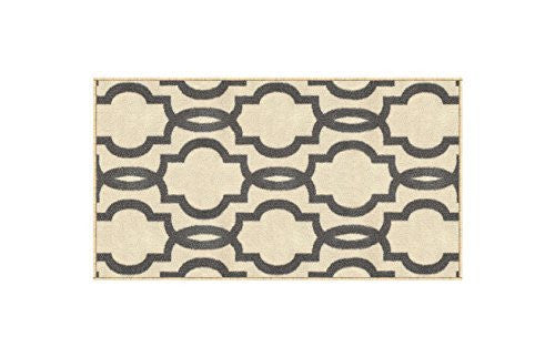 "Rubber Backed Mat 18"" x 32"" Fancy Moroccan Trellis Ivory & Grey Doormat Accent Non-Slip Rug - Rana Collection Kitchen Dining Living Hallway Bathroom Pet Entry Rugs RAN204CRM-12"