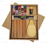 Happy Sales CH-81, Bamboo Chopsticks Gift Set Rice Paddle Included Lucky Cat