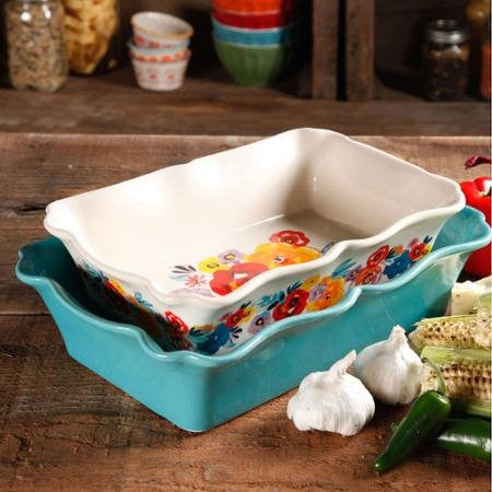 The Pioneer Woman Flea Market 2-Piece Decorated Rectangular Ruffle Top Ceramic Bakeware Set, turquoise & floral baker by BLOSSOMZ