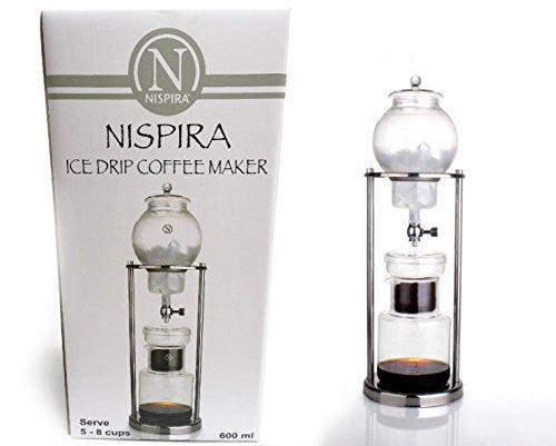 NISPIRA Luxury Ice Cold Brew Dripper Coffee Maker in Stainless Steel and Borosilicate Glass