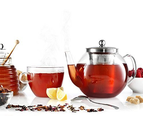 Francois et Mimi Borosilicate Glass Tea Pot with Tea Infuser, Micro-mesh Filter, 40oz