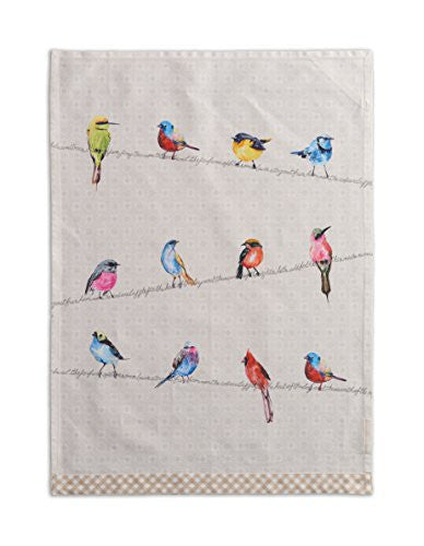 Maison d' Hermine Birdies On Wire 100% Cotton Set of 2 Kitchen Towels, 20 - inch by 27.5 - inch.