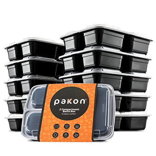 Pakkon 3 Compartment Bento Box with Airtight Lid, 10 Pack