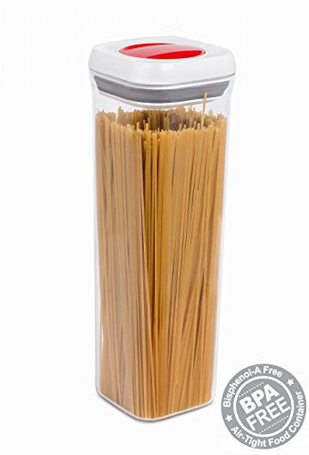 Internet's Best Spin Lock Airtight Canisters | 71 oz Tall Square Container | Thick BPA Free Plastic Stacking Food Storage Twist Lock for Sugar Rice Flour Nuts Pasta