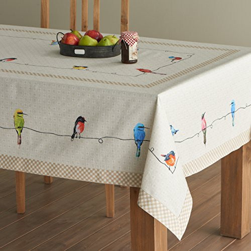 Maison d' Hermine Birdies On Wire 100% Cotton Tablecloth 54 - inch by 72 - inch.