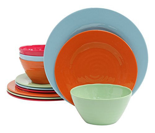 Gibson Home 12 Piece Brist Melamine Dinnerware (Set of 4), Assorted