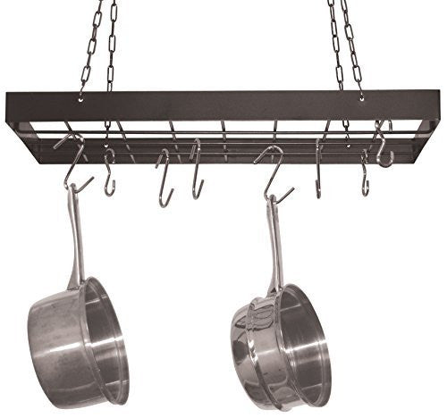 Fox Run Pot Rack with Chrome Chains and Hooks, Black