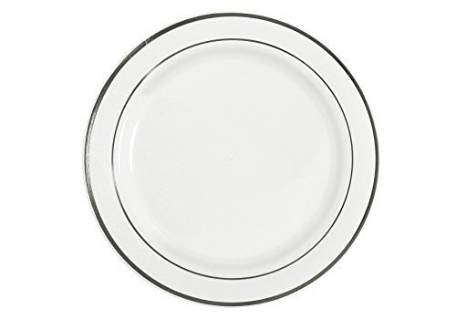 "Table To Go ""I Can't Believe It's Plastic"" 7.5"" Salad Plates, New Lines Design, 50 Pieces, White"