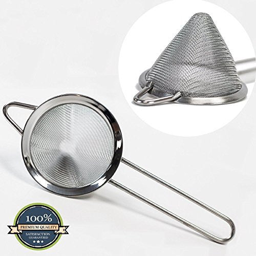"HUJI Stainless Steel Fine Mesh Conical 3 Inch Strainer Colander Sieve Sifter with Handle for Kitchen Food Rice Pasta (3"")"