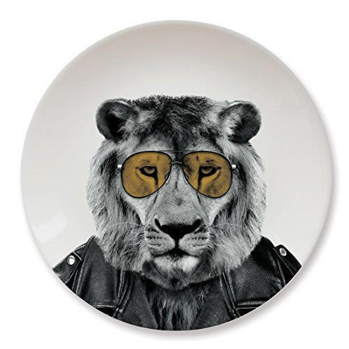 Mustard Ceramic Dinner Plate - Wild Dining Lion