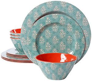 Gibson Studio Line by Laurie Gates 12 Piece Solana Melamine Dinnerware (Set of 4), Aqua