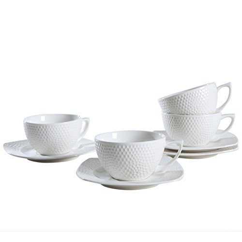 "SOLECASA ""7.5-OZ/Set of 4"" White Porcelain/Ceramic TeaCup,Coffee Cup and Saucer Set-Great as Holiday Gift/Present"