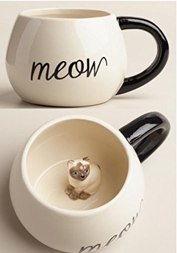 Surprise Cat Coffee Mug with Baby Cat Inside - 17 Oz