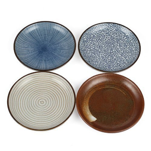 "Lagute Porcelain Dinnerware Plate Set of 4 pack Japanese Zen Style Dipping Sauce Dishes, for Appetizer, Dessert, Salad, Snack, Sushi, Fruit, Bread (Ice Cracks, Medium 3.8"") (Ice Cracks) (3.8"")"