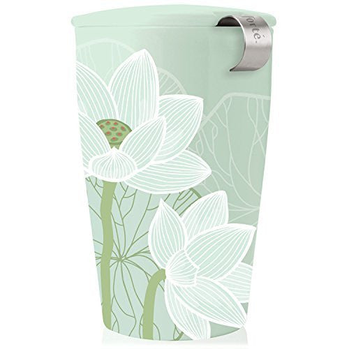 Tea Forté KATI Lotus Single Cup Loose Leaf Tea Brewing System, Insulated Ceramic Cup with Tea Infuser and Lid