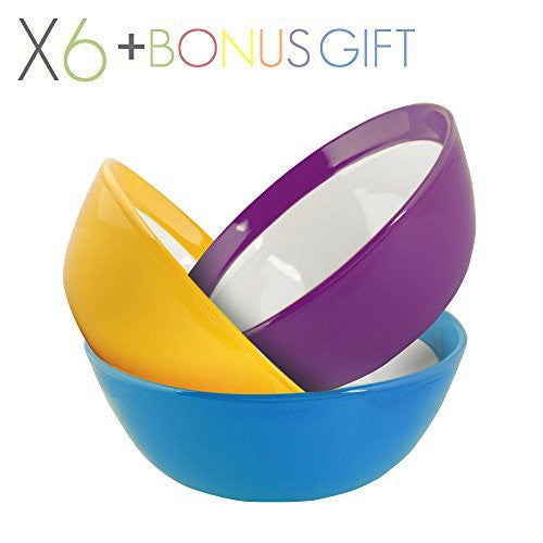 Primrose Colorful Bowls by Madero Kitchen - Set of 6 PREMIUM Ceramic Cereal, Breakfast Bowls - 6.2 Inches, 22 OZ - 100% Secure Packaging - BEAUTIFUL round DESIGN and DIFFERENT COLOURS!