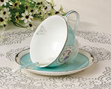 Jusalpha® Vintage Blue Bone China Teacup Spoon and Saucer Set TCS05