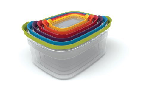 Joseph Joseph 81009 Nest Storage Resuable Plastic Food Storage Containers Set, 12-Piece, Multicolor
